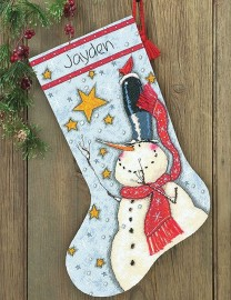 Сапожок Снеговик в цилиндре (Tall Hat Snowman Stocking)