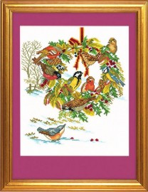 Рождественский венок и птицы (Wreath and birds)